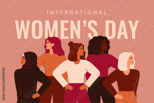 Vászonkép International Women's Day card with Five strong girls of different cultures and ethnicities stand together