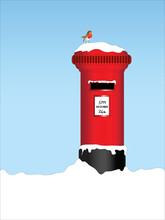 Post Box With Robin And Snow, Christmas Eve  Letter To Santa Theme.