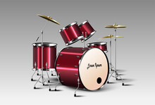 Realistic Drum Kit. Vector.