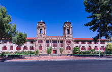 Bloemfontein City Hall Historic Sandstone Building Front Entrance In Free State South Africa
