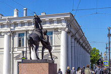 Statue Of A Young Man Taking A Horse By The Bridle, Sculptor Klodt On The Anichkov Bridge