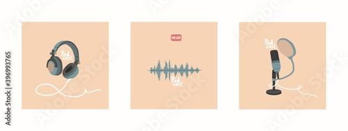 Fotografia, Obraz A set of vector illustrations for the design of podcast broadcasts