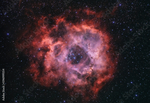 Fotografie, Obraz The Rosette nebula also known as Caldwell 49 with the Harp cluster at the centre