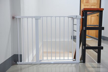 Baby Gate Safety Door, White Fence For Safety Children On Stairs Or Dog Gate.