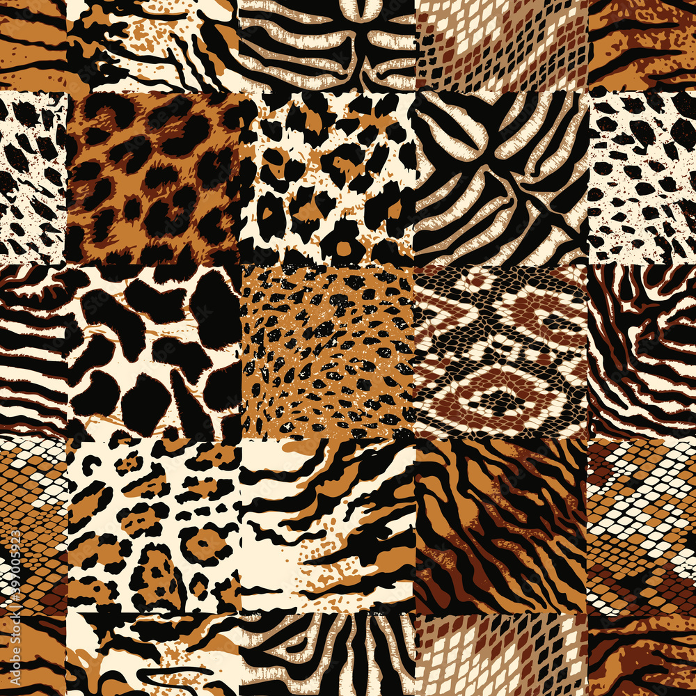 Fototapeta Checkered wild animal skin patchwork colorful abstract vector seamless pattern