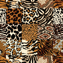 Checkered Wild Animal Skin Patchwork Colorful Abstract Vector Seamless Pattern