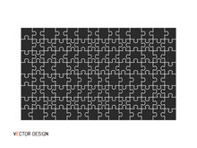 Puzzle, Black, With White Lines. Puzzle, Background. Vector Illustration.