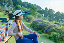 Woman Tourist With Doi Chang Mup Background At Chiang Rai Province