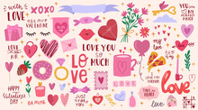 Big Set For Valentine's Day,cute Love Illustration,lettering. The 14th Of February. All Elements Are Isolated.Hand Drawn Vector Design.