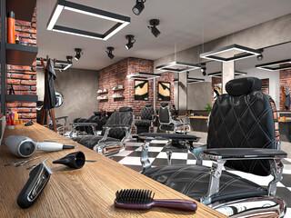 hair salon interior 3d illustration