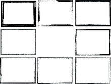 Set Of Grunge Black And White Frames . Textured Rectangles For Image