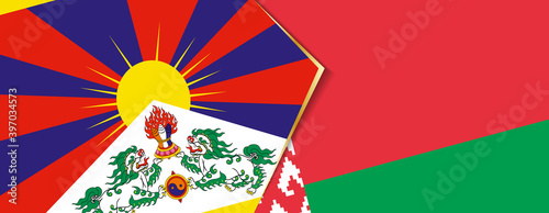 Tablou Canvas Tibet and Belarus flags, two vector flags.