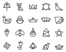 Simple Set Of Origami Papercraft Icons Vector On White Background.