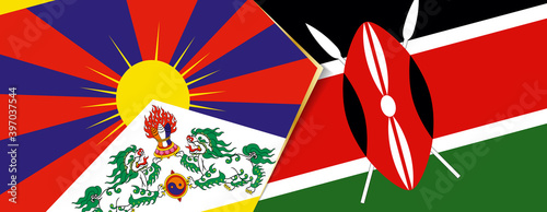 Foto Tibet and Kenya flags, two vector flags.