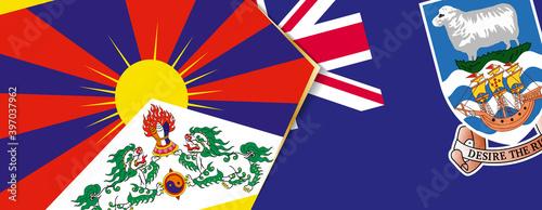Obraz na plátne Tibet and Falkland Islands flags, two vector flags.