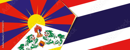 Fotografija Tibet and Thailand flags, two vector flags.