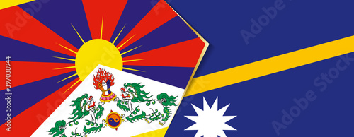 Canvas Print Tibet and Nauru flags, two vector flags.