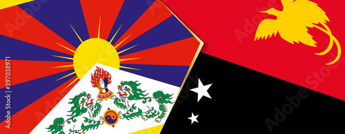 Photographie Tibet and Papua New Guinea flags, two vector flags.