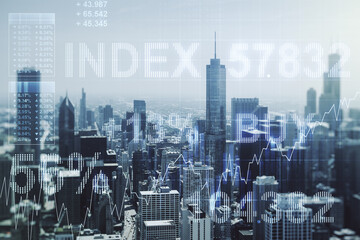 Multi exposure of virtual abstract financial graph interface on Chicago cityscape background, financial and trading concept