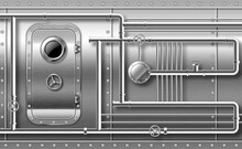 Metal Door With Porthole On Wall With Pipes, Valves And Rivets. Bunker Close Entrance. Ship Or Secret Laboratory Steel Bulletproof Doorway With Illuminator And Rotary Lock Wheel Realistic 3d Vector