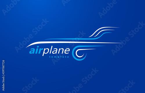 Obraz Airplane logo lines style plane silhouette white color - fototapety do salonu