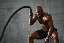 Black Man Doing Intense Sports...