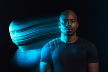 Black Man In Motion Colorful Portrait