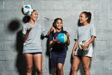 Teenage Female Soccer Players Indoors