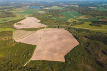 Brassica Napus Rapsis View Look From Above Drone Shot Aerial Rapeseed Field Yellow Patches Fields Latvia Forest Roads Plowed