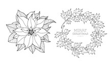 Poinsettia And Holly Berry Border. Christmas Flower. Vintage Vector Artwork. Black And White. Coloring Book Page For Adult. Hand Drawn. Holiday Concept For Greeting Card, Branding, Logo, Label