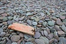 Close Up Of Drift Wood On Pebb...