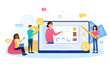 Online business courses of increasing earnings, money. PC monitor with charts arrow on screen, concept or success financial trading profit. Abstract concept. Cartoon flat vector illustration