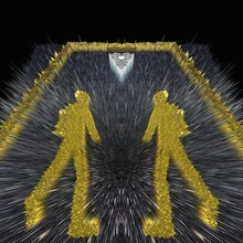 Surreal Abstract Icon Of Pedestrian Male Crossing The Road In YELLOW Paint On Black Asphalt Background Repeating Patterns