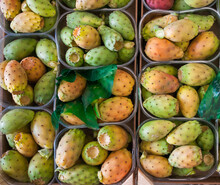 Prickly Pears Exhibited For Sale In Boxes During A Street Market In Sicily