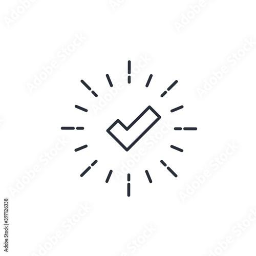 Fototapeta Check mark in the rays. Vector linear icon isolated on white background. obraz na płótnie