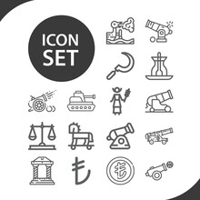 Simple Set Of Turkish Related Lineal Icons.
