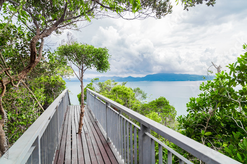 Walkway to the top viewpoint of Koh Hong island new landmark to see Beautiful scenery view 360 degree at Thailand Canvas