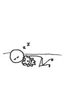 Hand-Drawn Isolated Stick Figure Sleeping With A Teddy Bear