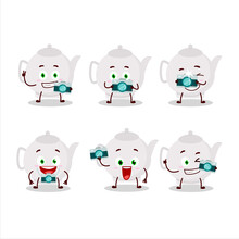 Photographer Profession Emoticon With Ceramic Teapot Cartoon Character