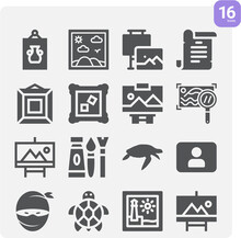 Simple Set Of Painted Related Filled Icons.