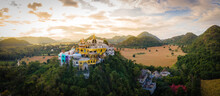 Panorama Landscape Of Temple On The Mountain At Simalai Songtham Temple In Khao Yai, Pak Chong, Nakhon Ratchasima, Thailand In Sunset Time