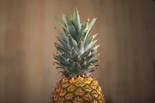 Concept Of A Pineaple Cut By The Frame Withouth A Knife. Pineapple Crown Picture. Horizontal Orientation Picture.