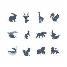 Set Logo Animal Sillhouette Vector Design
