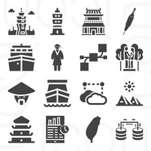 16 Pack Of Mainland  Filled Web Icons Set