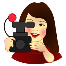 Emoji With Professional Tv Camerawoman That Is Shooting A Video For A Television News Channel, Girl Camera Operator At Work Behind A Retro Vhs Videocamera, Simple Colored Emoticon