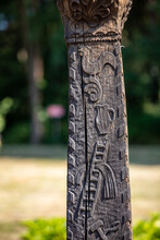 Wooden Wayside Shrine With Wola Filipowska Moved To The Open-air Museum In Wygiezlow. Poland