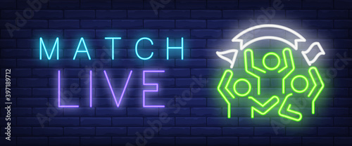 Fototapeta Match live neon text with sport fans