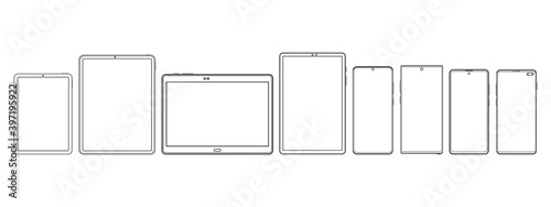 Fototapeta Modern Tablet Computers and Smartphones Wireframe Outline Icons Isolated on White Background. Vector Illustration obraz