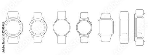 Obraz Smart Watches Wireframe Outline Icons Isolated on White Background. Vector Illustration - fototapety do salonu