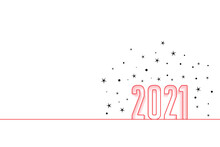 2021 Hapy New Year Minimal Background With Stars